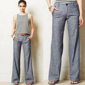 PILCRO Wide Leg Linen/Cotton Blend Trouser Pants